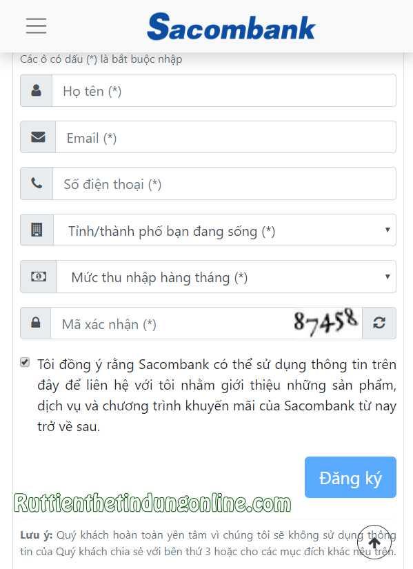 mo the tin dung sacombank online