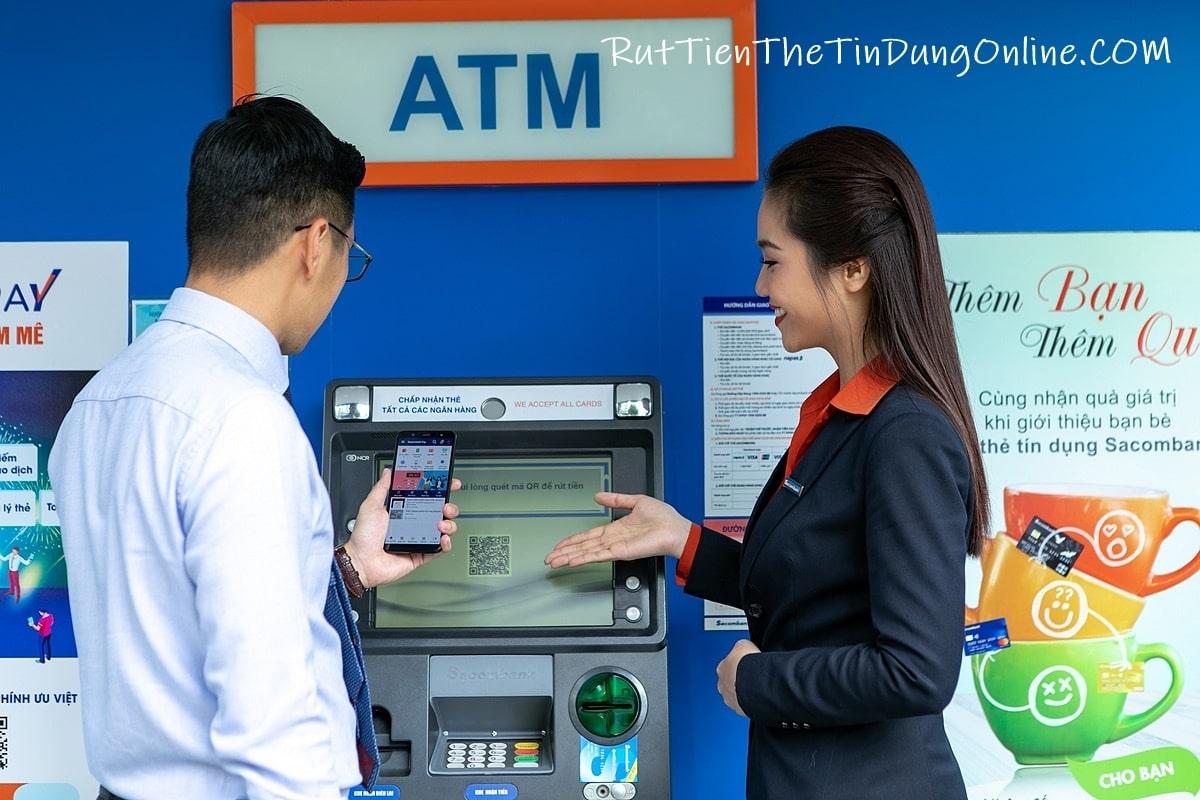 Rút tiền không cần thẻ sacombank pay